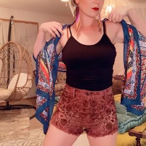 Free People shorts maroon high waisted cut off